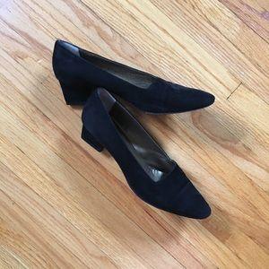 Yves Saint Laurent black suede heels